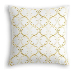 Pale Yellow Embroidered Scroll Chain Custom Euro Sham - The secret to those perfectly made beds you eye in magazines? Euro shams. Complete your bed set with a set of Simple Euro Shams for a look that's as stylish as it is snuggly.  We love it in this elegant, classic swirling chain-link trellis embroidered in pale yellow and gold.