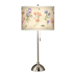 Giclee Gallery - Floral Fancy Giclee Brushed Steel Table Lamp - With its alluring femininity, the Floral Fancy giclee print shade brings classic flavor to this brushed steel table lamp. This contemporary table lamp features a stylish, custom giclee art shade. The colorful pattern is complemented by a smart-looking brushed steel finish base. An on/off pull chain makes for convenient lighting control. U.S. Patent # 7,347,593.