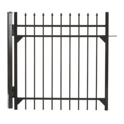 Specrail - Specrail Madison Aluminum Walk Gate 3-Rail Panel - 4 ft. Multicolor - GR1483A048 - Shop for Fencing and Fencing Materials from Hayneedle.com! With all the beauty of wrought iron and none of the maintenance the Specrail Madison Aluminum Walk Gate 3-Rail Panel - 4 ft. is perfect for protecting your property creating a garden or enclosing your pool. Crafted from high quality heavy walled aluminum that won t rust this walk gate is also designed to be maintenance free which means you don t have worry about painting or staining! Made in the finest fabrication and finishing facilities in the industry this elegant gate has fully welded construction as well as welded corner gussets which makes it extremely strong and durable. This walk gate includes two self-closing hinges and a pad-lockable gravity latch and is easy to install so you ll have it up in no time.Additional FeaturesUse with DIY Fence System Universal PostUse with the DIY Fence Belleville 483 Fence Panel SystemNot advisable to mix and match fencing brandsAll welded construction is durable and strongWelded corner gussets add strengthLooks beautiful and protects your propertyIncludes 2 self-closing hingesAlso includes pad-lockable gravity latchGives you the beauty of traditional wrought ironEasy to installAbout SPECRAILSPECRAIL has been designing aluminum products of the highest quality for over 50 years. They offer the widest selection of any ornamental aluminum fencing company and their extraordinary line includes 11 styles 4 grades and 5 colors. SPECRAIL brings beauty strength and a traditional wrought iron look to their maintenance-free aluminum fencing. Every piece they manufacture represents their strong commitment to meeting the needs of their customers and their dedication to quality.