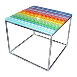 """Glass Table by Orfeo Quagliata For Phuse - Put on Radiohead's """"In Rainbows"""" and set your gin and juice atop this artful glass striped side table. Glassmakers Orfeo and Narcissus Quagliata designed this vibrant, beautiful, and slightly trippy glass table. It will inspire your entire room palette but be warned, it may have you hooked on picking up every piece they create."""