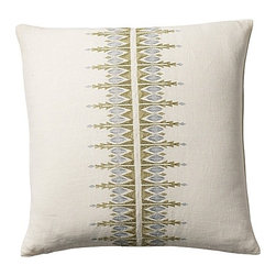 Bergen Embroidered Pillow Cover - There's something about this embroidered pillow cover that reminds me of snowflakes and icicles. With subtle hints of soft green and icy blue, it is the ultimate winter pillow.