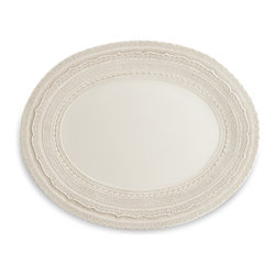Arte Italica - Finezza Cream Oval Platter - Gather your loved ones for a special meal — and serve on a piece that adds to the amazing feeling you get from feeding family and friends. This large platter, handmade in Italy, features a beautiful border of intricate lace to imbue your table with elegance and grace.