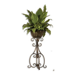 Uttermost - Uttermost 60090  Costa Del Sol Potted Greenery - Lush and vibrant tropical foliage potted in a scrolled, hand forged iron pedestal in burnished, copper bronze finish with removable planter insert.