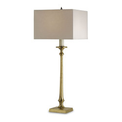 Currey and Company - Currey and Company 6538 Exeter Traditional Table Lamp - A traditional brass candlestick lamp is embellished with a square linen shade which gives it a relaxed sophisticated look.