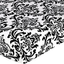 Sweet Jojo Designs - Isabella Black and White Crib & Toddler Sheet - Damask Print by Sweet Jojo Desig - The Isabella Black and White Crib & Toddler Sheet - Damask Print by Sweet Jojo Designs, along with the  bedding accessories.