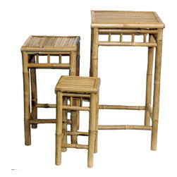 Bamboo54 - Set Of 3 Square High Nesting Stools - Add a tropical accent today with this versatile, Asian style bamboo nesting table. This set of three accent tables are beautiful either on their own or topped with your favorite decorative pieces. Each sturdy nesting end table is built from natural bamboo pole with bamboo slat tops. The tops are bordered with larger bamboo pieces for a clean, inlaid look. All three feature box stretchers and decorative top rails. This unique set of three bamboo stools can be used as tables or plant stands. The set Of 3 Square High Nesting Stools includes one large stool and two smaller stools. This set will complement your decor indoors or outdoors. Manufacturer: Bamboo54. Brand: Bamboo54. Part Number: 5457