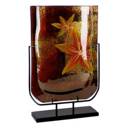 Bronze Age - Brown and Red Rectangular Fused Glass Vase Display - This gorgeous Brown and Red Rectangular Fused Glass Vase Display has the finest details and highest quality you will find anywhere! Brown and Red Rectangular Fused Glass Vase Display is truly remarkable.