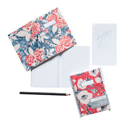 Yellow Owl Workshop - Rose & Poppy Notebooks - These pocket sized notebooks are as functional as they are chic. Set contains 2 notebooks with an individual cover design (on front and back) and 32 perforated blank linen pages for easy removal.