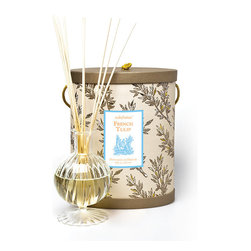 Frontgate - Seda France French Tulip Classic Toile Diffuser Set - Includes 8 oz. of alcohol-free oil and natural wooden reeds. French Tulip will transport you to an open air flower market in Paris, with blends of jasmine, rose, lemon, clove, sage and rosewood for a complex green note. Elegant hand-blown glass container. Packaged in a gorgeous toile patterned box with handle and lid. Lasts up to 4 months. Made from high-quality fragrant oil, the Seda France Diffuser Set disperses a light, fresh scent to any area. A continuous aroma pleasantly contributes to your home's mood and ambiance with no effort required. . . . . . Made in the USA.