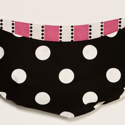 Cotton Tale Designs - Hottsie Dottsie Toybag - A quality baby bedding set is essential in making your nursery warm and inviting. All Cotton Tale patterns are made using the finest quality materials and are uniquely designed to create an elegant and sophisticated nursery. 100% cotton. Big white dot on black with hot pink stripe lining. Ties in green animal skin. Can be used as wall decor or tied to the changer. Functional and fun, can store toys or supplies. Never tie to the crib. Machine wash cold water, gentle cycle, separately. Tumble dry low or hang to dry. Toy bag for a girls nursery. 10 lbs capacity.