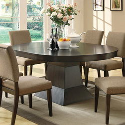Coaster - Myrtle Dining Table - The smooth oval table top rests above a simple styled pedestal base, creating a bold but classic look. The table includes one 18-inch leaf that extends this table to 72-inches. In a rich coffee finish and made of cherry veneer, this group will add warmth and depth to your room, for a great gathering space that friends and family will love. Pair with matching slightly curved back side chairs for the perfect look.