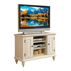 Home Styles - Home Styles Bermuda White TV Stand - Home Styles - TV Stands - 554309 - Inspired by the fusion of British traditional and coastal design elements the Bermuda Collection highlights poplar solids and engineered wood in a refreshing multi-step White finish.  Further inspiration can be found in the shutter doors and turned feet.  Ample component storage is provided in the Bermuda Entertainment Console's center compartment with two adjustable shelves as well as in the two storage cabinets each with two adjustable shelves.  Effectively hidden cable access points allow for neat wire management.