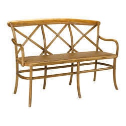 Kathy Kuo Home - Genet French Country Light Oak Wood 3 Seat Dining Bench - Gather up a trio and embrace the casual comfort offered by this sculpted oak seat with high back and arms. Evoking a countryside park bench, the cross-hatched back supports you in French Country style. With clean lines and natural wood grain, the piece is perfect at a dining table, in an entryway or on an enclosed porch.