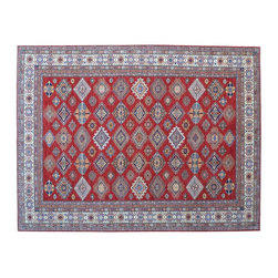 1800 Get A Rug - Tribal and Geometric Red Super Kazak Hand Knotted 100% Wool Rug Sh15330 - Our Tribal & Geometric Collection consists of classic rugs woven with geometric patterns based on traditional tribal motifs. You will find Kazak rugs and flat-woven Kilims with centuries-old classic Turkish, Persian, Caucasian and Armenian patterns. The collection also includes the antique, finely-woven Serapi Heriz, the Mamluk Afghan, and the traditional village Persian rug.