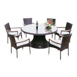 "Helena Black Wicker 60"" Table w/ 6 Stacking Chairs - Set includes (1) Helena 60"" Table and (6) Helena Stacking Chairs."