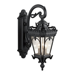 Kichler Lighting - Kichler Lighting Tournai Traditional Outdoor Wall Sconce X-TKB8539 - With its heavy textures, dark tones, and fine attention to detail, this 3 light outdoor wall fixture from the Tournai collection stands out from other outdoor fixtures. Handmade from cast aluminum, its distinctive Textured Black finish and Clear Seedy Glass panels give this piece a unique aged look.