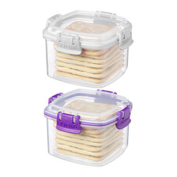 Sistema - White & Purple Small Cracker Container Set - These containers boast colorful clip closures to lock in freshness and feature clear construction that makes it easy to see the contents inside.   Includes two containers and lids 4.4'' W x 2.8'' H x 4.4'' D Virgin polypropylene Microwave-, freezer- and dishwasher-safe Made in New Zealand