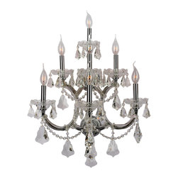 Worldwide Lighting - Maria Theresa 7 Light Chrome Finish Crystal Wall Sconce Light, Large - This stunning 7-light Wall Sconce only uses the best quality material and workmanship ensuring a beautiful heirloom quality piece. Featuring a radiant chrome finish and finely cut premium grade crystals with a lead content of 30%, this elegant wall sconce will give any room sparkle and glamour. Worldwide Lighting Corporation is a privately owned manufacturer of high quality crystal chandeliers, pendants, surface mounts, sconces and custom decorative lighting products for the residential, hospitality and commercial building markets. Our high quality crystals meet all standards of perfection, possessing lead oxide of 30% that is above industry standards and can be seen in prestigious homes, hotels, restaurants, casinos, and churches across the country. Our mission is to enhance your lighting needs with exceptional quality fixtures at a reasonable price.