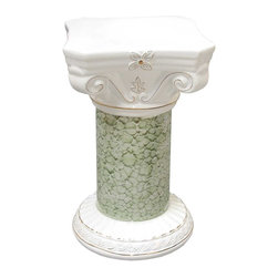 Renovators Supply - Planters White/Green Ceramic Ornate Pedestal 22 H x 13 Dia - Ceramic Pedestals make for a luxurious decor indoor or out. Use this decorative column as a plant stand or other architectural element in a room, outside patio or balcony. Showcase a favorite plant or bouquet of flowers.