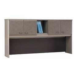 Bush Business - 72 in. Pewter Hutch - Series A - This hutch is the perfect choice for an already existing 72 inch pewter finish desk, as it will provide you with the required storage in order to keep organized while economizing on the floor area at the same time.  This pewter finish hutch offers four closed-door cabinets for ensuring privacy but also open storage place for easy access to daily documents. * Convenient overhead concealed storage area. Fits optional task lighting. Durable vinyl facade on door fronts. Fabric-covered tackboard on backpanel . Divide work stations with finished back panel. Self-closing adjustable hinges are precise and durable. 71.535 in. W x 13.819 in. D x 36.496 in. H
