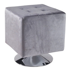 Armen Living - Pica Square Ottoman, Gray - Unmistakably posh button-tufting detail enhances the distinguished silhouette of this updated classic.