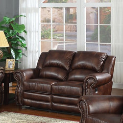 AC Pacific - Fulton Reclining Loveseat - This traditional style set has rolled arms with nail heads which is a great accent, covered in 100 % bonded leather with suttle blended brown tones. This set also has dual recliners on the Sofa and Loveseat.. Material: Leather. Color/Finish: Brown. 67 in. L x 38 in. W x 40 in. H
