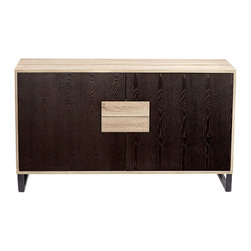 Cyan Design - Miles Mid-Century Cabinet - The Miles Mid-Century Cabinet is as beautiful as it is practical. With it's sleek tone-on-tone facade, this generous storage unit has six shelves and two drawers. The Miles Mid-Century Cabinet is perfect for bedroom storage or a dining room buffet. Or purpose it as a credenza for concealing media components in the living room. This workhorse also serves as an excellent office storage piece. We love it's natural oak veneer frame and drawers, and deep espresso stained cabinet doors. The contrasting white interior and angular black metal base add to the modern appeal. This finely crafted piece is sure to match your quest for stylish storage in your modern home or office.
