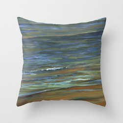 Ocean Pillows - Sand to Wave - Throw Pillow Cover made from 100% spun polyester poplin fabric, a stylish statement that will liven up any room. Mixed media drawing on a Birch Panel with oil paint used to complete the idea. The painted and sanded surface lets the warm tone of the wood show through the cool marks that create the idea of water. The horizon with subtle color rests in the distance as the bright colors are brushed side by side bringing the integration of the water onto the sand. The cool colors reflect and the warm tones relate the transparency of the water over the sand, the blue and the orange.