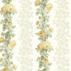 Brewster Home Fashions - Preshea Yellow Rose Stripe Wallpaper. - Bring a burst of sunshine into your home with this soft floral stripe wallpaper. Radiant yellows mixed into a creamy backdrop bring beauty and light into any space.