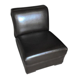 Brown Leather Slipper Chair - $600 Est. Retail - $350 on Chairish.com -