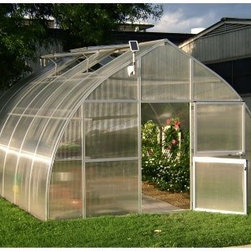"Hoklartherm RIGA XL 14.1 x 19.8-Foot Greenhouse Kit - Additional Features4 large roof windows provide ample ventilationIncludes 4 automatic roof window openersConstructed with 16 MM twin wall polycarbonate glazingBetter insulation, stability, and quality than others in its classHas an array of accessoriesIncludes a big red heater with a thermostatAlso includes a solar light, top shelf, and a regular shelfBoth shelf inserts use twin polycarbonateInserts are removable to make room for taller plantsTwin polycarbonate allows for better light distributionYour choice of 10 plastic or stainless steel hooksPlastic hooks allow for grow string for tomatoes or beansStainless steel hooks will allow you to string lightsFeatures 283 square feet of spaceDoor measures 37.5W x 74H inchesPeak height measures 10 feetMeasures 14.1W x 19.8L x 10H feetBeautifully and expertly crafted, the RIGA XL 14.1 x 19.8-Foot Greenhouse Kit comes with everything you need to make a thriving environment for your plants. You'll be able to grow plants, vegetables, and flowers year-round in this greenhouse which has better insulation, stability, and strength than others in its class. The thick aluminum profiles are permanently attached so they won't loosen over time, and the entire greenhouse features 16 MM twin wall polycarbonate glazing for added strength and protection. The greenhouse has two large, Dutch style doors and four roof windows which allow for optimal ventilation. The greenhouse also comes with four automatic roof openers. The RIGA XL is designed to allow maximum headroom with no eaves so you can assemble the greenhouse without the help of professionals.The RIGA XL Greenhouse Kit includes a ""big red"" heater with a thermostat, a solar light that attaches to the top of the greenhouse, a top shelf, a regular shelf, and your choice of 10 plastic or stainless steel hooks. The shelf inserts also have polycarbonate glaze for better light distribution, and the inserts are removable to allow room for larger plants. The top shelf leans downward making it easier to reach and also to keep it from blocking the sunlight. The 10 plastic hooks are perfect for grow string for tomatoes or string beans, while the 10 stainless steel hooks will allow you to hang lights throughout the greenhouse. The RIGA XL Greenhouse Kit will let you enjoy your favorite plants, vegetables, and flowers throughout the year. Assembly is a weekend project for one or two people.About HoklarthermAfter erecting his first greenhouse, the ""thermo semicular arch greenhouse,"" in his family garden in 1978, Mr. Werner Hollander, graduate engineer, founded Hoklartherm in 1982. Mr. Hollander's social circle was very interested in his greenhouse, and more models followed quickly after. Today, Hoklartherm is the biggest manufacturer of high-quality greenhouses made in Germany. Hoklartherm is in the business of developing ideas made of metal and glass for your house, yard and garden. For over 20 years, they have developed and produced greenhouses, winter gardens, pool houses, pavilions, terrace roofings, solar verandas and much more. They take pride in innovation and creativity."