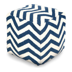 Zig Zag Pouf - Cobalt - Strong contrast and bold pattern in cool, deep cobalt and sensible, neutral ivory make this Zig Zag Pouf a striking allusion to nautical decor - or simply a vibrant detail for a room with a cooler palette. Its wool cover neatly stitched into a soft cube of sturdy fabric, this plump ottoman serves myriad purposes for making your home a more comfortable place to recline.