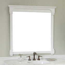 Bellaterra Home - Bellaterra Home Calabria Solid Frame Mirror - White - 42W x 41.5H in. - 205050-M - Shop for Bathroom Mirrors from Hayneedle.com! The Bellaterra Home Calabria 42-in. Solid Frame Mirror - White is a charming traditional-style companion for any vanity or dresser in your furniture collection. This handsome mirror features a sturdy frame made from solid birch hardwoods and finished in a beautiful waterproof white. The tightly-fitted specially treated high-quality reflective surface is made to withstand bathroom humidity. Mounting hardware is included.About BellaterraBy combining novel manufacturing processes with traditional craftsmanship and rigorous inspections Bellaterra retains an unblemished reputation for fine quality and customer service. For over 15 years the owners of Bellaterra have made certain that production is meticulously managed from choosing materials to the impeccable construction. All-wood finishes prevent humidity and water damage ensuring all Bellaterra products remain un-warped unstained and gorgeous for a lifetime.