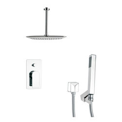 Remer - Square Chrome Shower Faucet with Handheld Shower - Single function shower faucet.