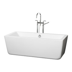 Wyndham Collection - 66.5 in. Soaking Bathtub in White - Includes cable driven pop up drain and waste overflow are installed. Tub filler not included. Much deeper than standard tubs for full immersion. Warmer to the touch and more comfortable than traditional enamel or steel tubs. Acrylic construction for strength and ease of handling and installation. Adjustable base for accurate leveling and stability. Maximum fill: 55 Gallons. Drain: 17.5 in. D. Interior: 59.5 in. W x 23 in. D x 17 in. H. Exterior: 66.5 in. W x 29.38 in. D x 22.5 in. H. Assembly InstructionsThe Laura Soaking Tub - chic, elemental, bold and minimalist. Your bathroom is a sanctuary, so set it off by making a statement with your style, fill your tub with warm water, place a votive or two on the edge, lay back and relax. Now breath in deeply, close your eyes and just enjoy. Built to last and always warm to the touch, the Verona Bathtubs are a perfect place to melt away tension and stress, leaving you refreshed, recharged and renewed.