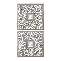 Uttermost - Colusa Square Antiqued Silver Mirror - The metal frames consists of numerous metal rings welded together and finished in a lightly antiqued silver. Mirrors are beveled.