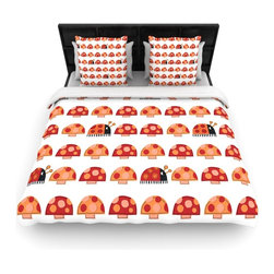 """Kess InHouse - Jane Smith """"Garden Ladybugs"""" Orange Red Fleece Duvet Cover (Queen, 88"""" x 88"""") - You can curate your bedroom and turn your down comforter, UP! You're about to dream and WAKE in color with this uber stylish focal point of your bedroom with this duvet cover! Crafted at the click of your mouse, this duvet cover is not only personal and inspiring but super soft. Created out of microfiber material that is delectable, our duvets are ultra comfortable and beyond soft. Get up on the right side of the bed, or the left, this duvet cover will look good from every angle."""