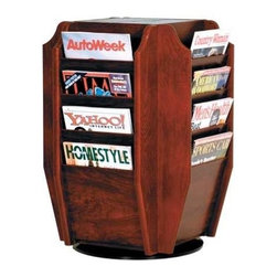Wooden Mallet - Swivel Countertop Magazine Display Rack w Six - Finish: Medium OakFor compact literature display, nothing beats this smartly designed, stylish swivel countertop rack. 16 spacious pockets allow for secure hold and top-page visibility. Crafted from fine hardwoods, it comes in your choice of popular finishes. From Wooden Mallet. Convenient countertop design neatly displays 16 magazines. Furniture quality construction with solid oak sides sealed in a durable state-of-the-art finish. Pictured in Dark Red Mahogany. No assembly required. 18 in. D x 18 in. W x 25 in. H (32 lbs.). 1-Year warrantyWooden Mallet's countertop magazine rack allows you to display 16 magazines in a compact space. This beautiful rack is constructed with solid oak sides and is