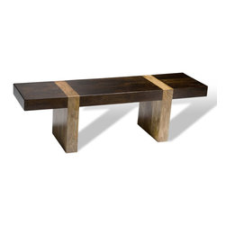 Interlude - Berkeley Bench - This bench is the embodiment of the notion that there is beauty in simplicity. Clean, straight lines and a gorgeous two-toned wood make for a piece that will immediately elevate your design, whether you use it as a bench for sitting or displaying something you want to draw attention towards.