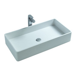 ADM - ADM White Solid Surface Stone Resin Counter Top Sink, Glossy - DW-145