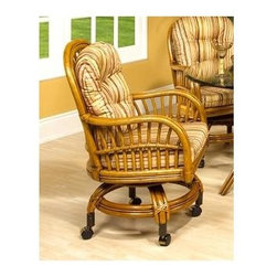Boca Rattan - Antigua Rattan Game Chair in Royal Oak (641) - Fabric: 641An open cross stitch weave pattern and graceful curved bamboo arms add an element of warmth and charm to this game chair, a castered chair that is a perfect partner for a card game or casual meal. It is finished in royal oak and includes a cushioned seat in your choice of fabrics. Cushion included. Leather bindings. Cross-stitch weave design. Rolling casters for mobility. Indoor use only. Constructed from strong and durable rattan. 24 in. W x 24 in. D x 33 in. H (45 lbs.)
