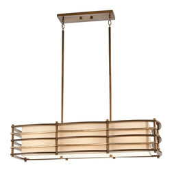 KICHLER - KICHLER Moxie Transitional Rectangular Kitchen Island / Billiard Light X-ZMC1602 - The clean lines and subtle curves are complimented by a warm Cambridge Bronze finish on this Kichler Lighting kitchen island light. From the Moxie Collection, it also features a shade with a variegated gold and linen fabric with coordinating satin etched glass diffusers.