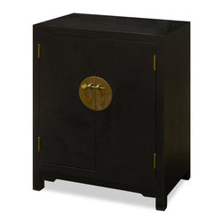 China Furniture and Arts - Elmwood Ming 2-Door Cabinet - Ming (1368-1644) furniture style is characterized by its simple, clean, and pleasing lines. Our reproduced Elmwood Ming cabinet is a fine example of the sleek, elegant design. Two removable shelves behind the doors give you ample storage for your CDs or books. Handcrafted by master artisans in China. Matte black finish. (Fully assembled).