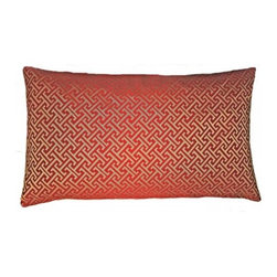5 Surry Lane - Duralee Red Greek Key Pillow - Aphrodite, goddess of love and beauty, would adore this luxe accent pillow. The rich red background displays an intricate Greek key design in shimmering gold, a delightful complement to your elegant yet modern taste. For a room of mythic proportions, pair this pillow with satin drapes and gilt accent pieces.
