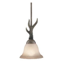 None - Buckhorn Pendant Fixture - Add rustic style with this Buckhorn-style pendant lightOne-light mini Buckhorn-style pendant light includes citrine glass shadeMini pendant light uses one (1) 60-watt bulb (not included)