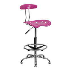 Flash Furniture - Vibrant Candy Heart and Chrome Drafting Stool with Tractor Seat - Quality chair at an amazingly affordable price! This sleek, modern stool conforms to several areas in the home or office. The molded tractor seat offers great comfort. The height adjustable capability of this stool allows you to use the stool at the dining table and bar table and anywhere in between.