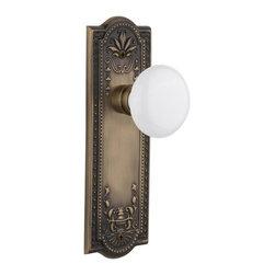 Nostalgic - Nostalgic Mortise-Meadows Plate-White Porcelain Knob-Antique Brass (NW-701867) - Meadows Plate with White Porcelain Knob With Keyhole - Mortise