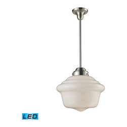 Elk Lighting - Schoolhouse Pendants Satin Nickel 15-Inch LED One Light Pendant - - In the Early 1900s, Schoolhouses, Banks, and Other Public institutions began Using Fully Enclosed Pendants that Not only Gave off an Abundance of Light, But Were Also Easy to Clean and Maintain. The Period Authentic Styling is Reflected in the Fluted or Patterned White Blown Glass and Matching Hardware in Polished Chrome or antique Brass. These Exclusive Pendants Exemplify the Uncompromising Historic Styling. LED offering Up to 800 Lumens (60 Watt Equivalent) with Full Range Dimming. Includes an Easily Replaceable LED Bulb (120V).  - Bulb Included: Yes Elk Lighting - 69040-1-LED