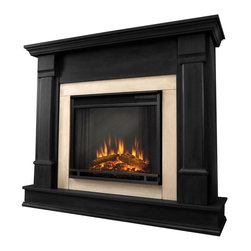 Real Flame - Silverton Electric Fireplace in Black - 1400 Watt heater, rated over 4700 BTUs per hour. Programmable thermostat with display in Fahrenheit or Celsius. Ultra Bright LED technology with 5 brightness settings. Digital readout display with up to 9 hours timed shut off. Dynamic ember effect. Fireplace includes wooden mantel, firebox, screen, and remote control.. Solid wood and veneered MDF construction. 48 in. W x 13 in. D x 41 in. H (98 lbs.)Curl up by the comforting glow of the Vivid Flame Electric fireplace anywhere in your home. Ideal for living rooms, family rooms or bedrooms, the free-standing Silverton offers clean linesand transitional styling that will add instant ambiance to any home. The Vivid Flame Electric Firebox plugs into any standard outlet for convenient set up. The features include remote control, programmablethermostat, timer function, brightness settings and ultra bright Vivid Flame LED technology.