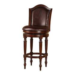"""Hillsdale - Hillsdale Barcelona 26"""" Swivel Counter Stool in Brown Cherry - Hillsdale - Bar Stools - 4899826 - Charming and antique inspired the Barcelona Stool is sophisticated and chic. Crafted of solid hardwood with a brown cherry finish the back and 360 degree swivel seat are covered in a distressed brown vinyl.  Some assembly required"""